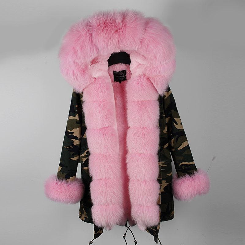 2018 Kış Ceket Kadın Coat Marka Doğal Gerçek Fox Kürk Yaka Hood Kalın Sıcak Parka Ayrılabilir Giyim Uzun Casual Yeni