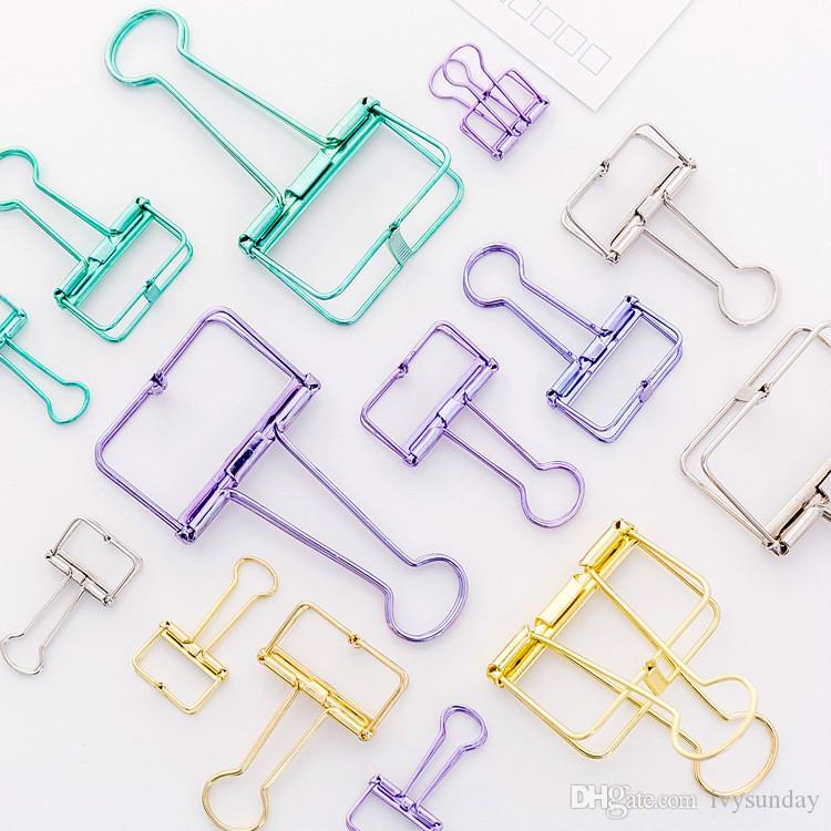 간단한 금속 Hollows 긴 꼬리 클립 다채로운 Foldback 클립 학생 편지지 DIY 핸드 계정 액세서리 Office 문서 테스트 종이 클립