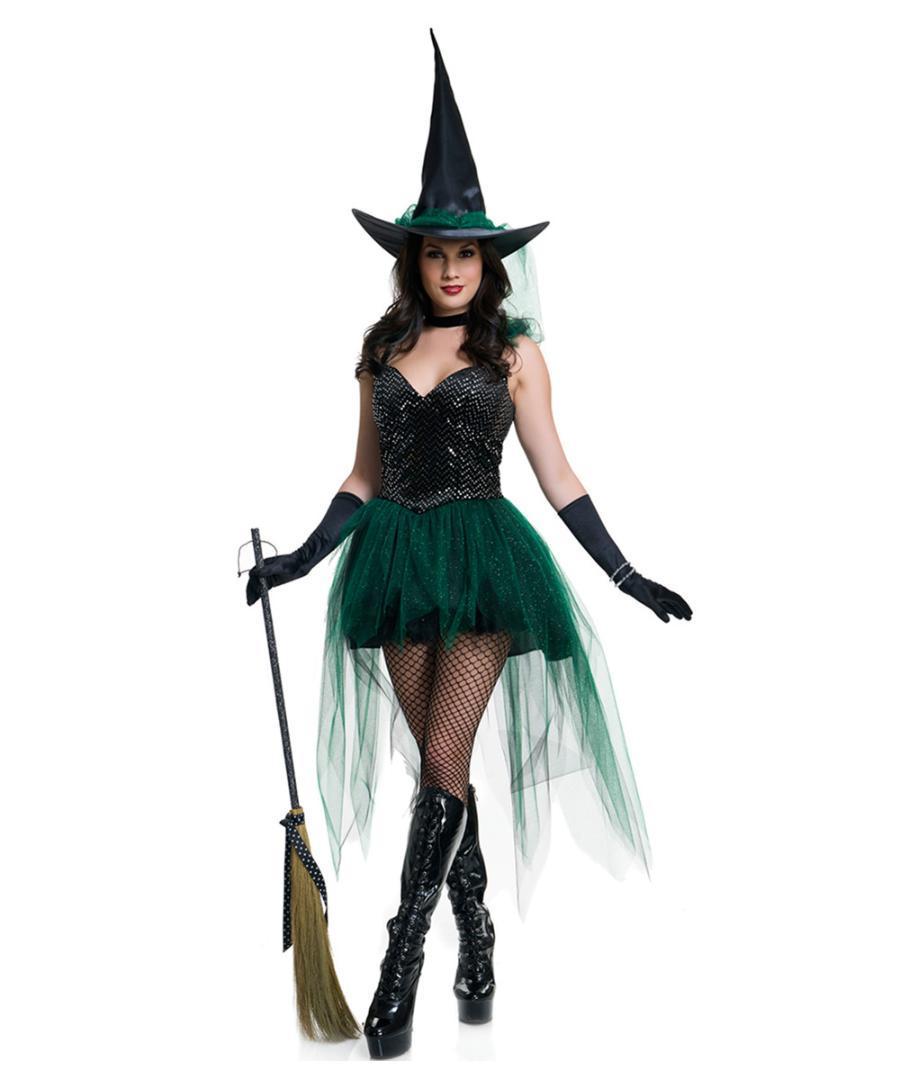 2016 Новый Хеллоуин костюм Смешной Изумрудный Костюм Ведьмы L15384