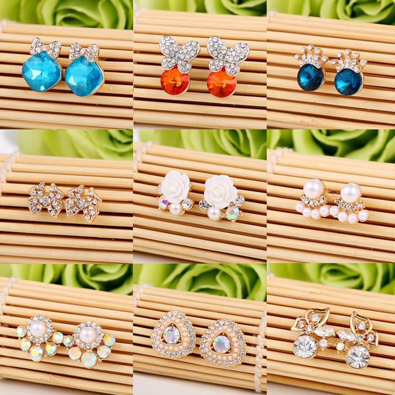 Mujeres Niñas Multistyle Designer Stud pendiente Rhinestone perla cuelga el pendiente accesorios de la joyería regalo de boda envío rápido