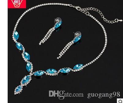 Chaming Cristal Diamond Drop Wddding Birde Set Collier de dame Boucles d'oreilles (7.2) FGDF