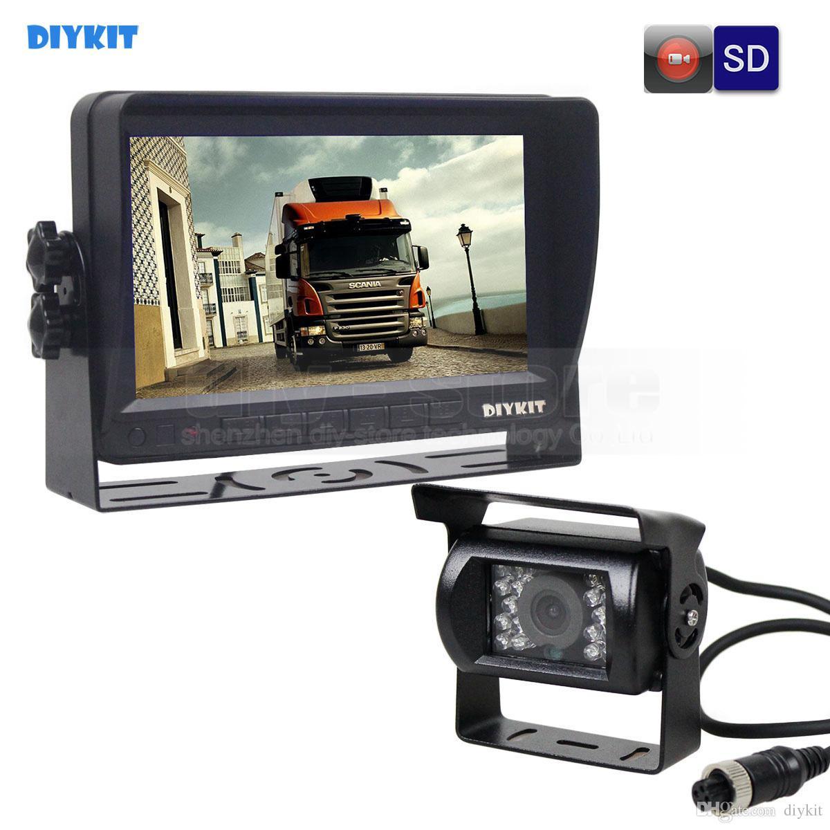 DIYKIT AHD 7inch TFT LCD Car Monitor Rear View Monitor Waterproof IR 1300000 Pixels AHD Camera Support SD Card Video Recording