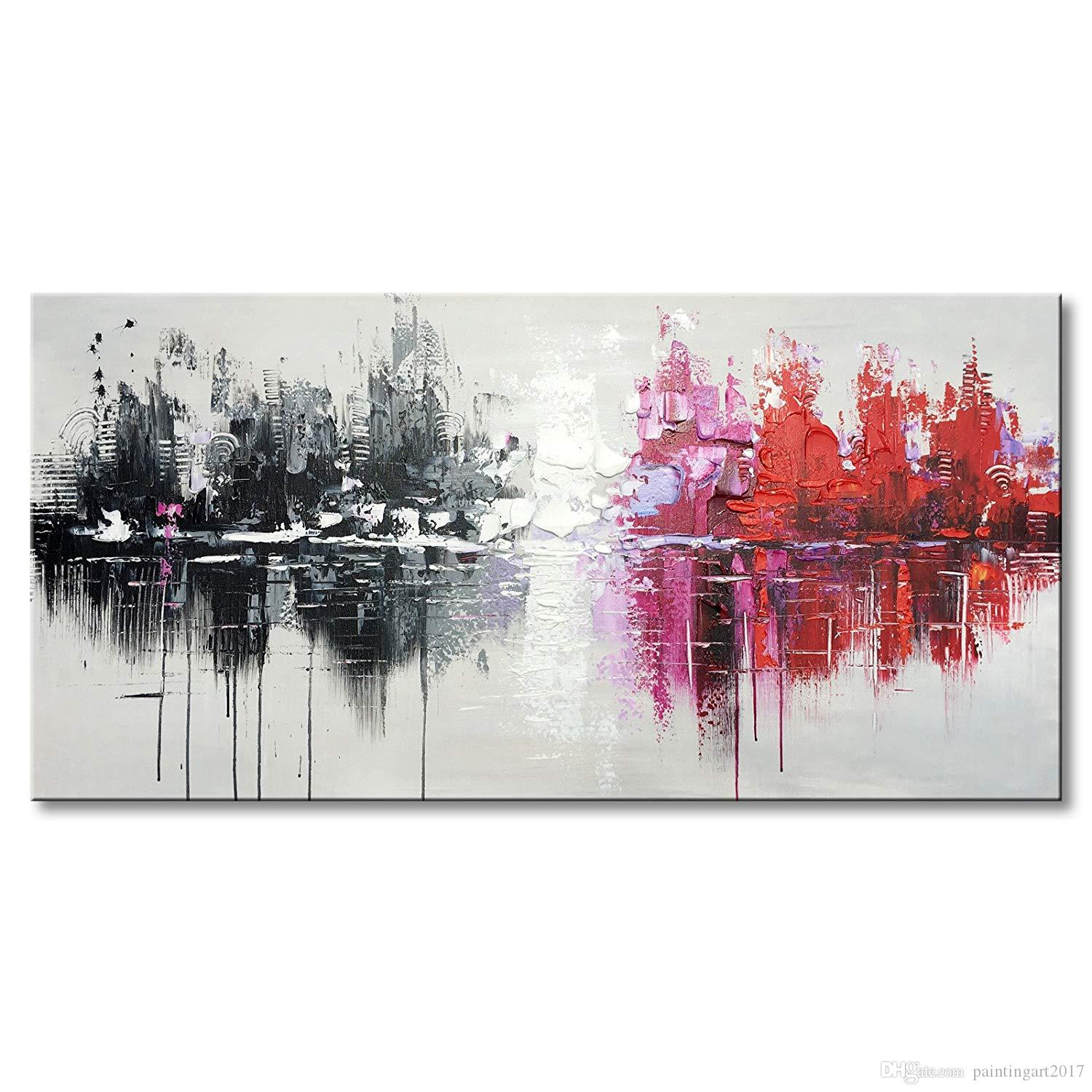 New Arrival Hand Painted Textured Abstract Canvas Wall Art Cityscape Painting Reflection Artwork (48 x 24 inch)