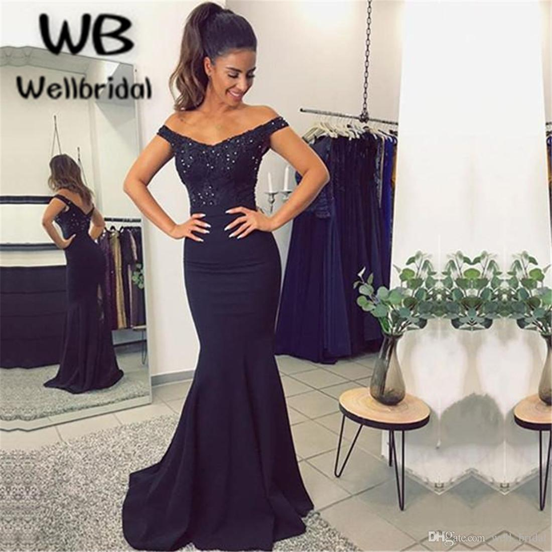 7cd40a5d5cd4 Sexy 2018 Off Shoulder Prom Dresses Long sweet 16 dresses Elastic Satin  Sweep Train Dark Navy Blue Mermaid Evening Dresses with Beaded