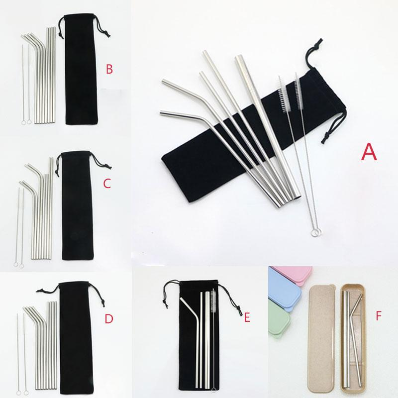"""304 Stainless Steel Drinking Straws Set 8.5"""" 9.5"""" 10.5"""" Straight Bent Reusable Drinking Straws Sets 7 Style Dia 6mm DHL"""