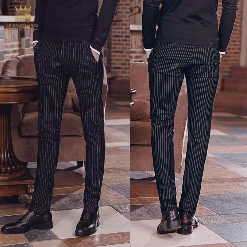 2018 neue Herbst Herrenhosen hochwertige Mode Business-Streifen dünne Hosen Gentleman Anzug Hosen plus Größe Sänger Kostüme