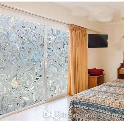 Frosted Opaque Glass Window Film 45x100cm Decorative Stained Glass Window Film Privacy Glass Stickers