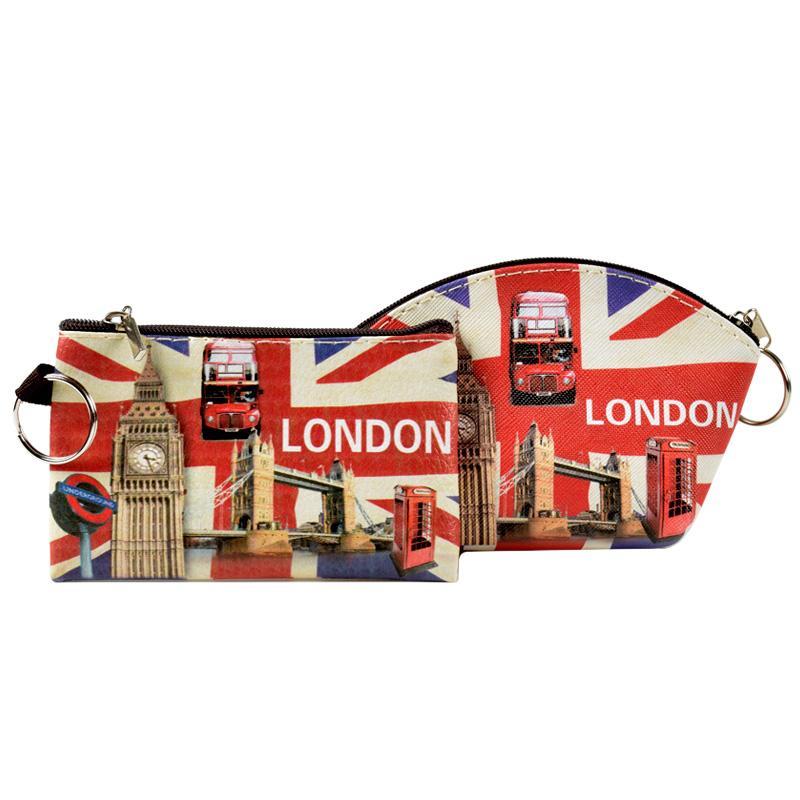 XYDYY London Flag Women Coin Purses England Style Big Ben Bus Arc Square Mini PU Wallet ID Card Holder Small Change Bag Handbag