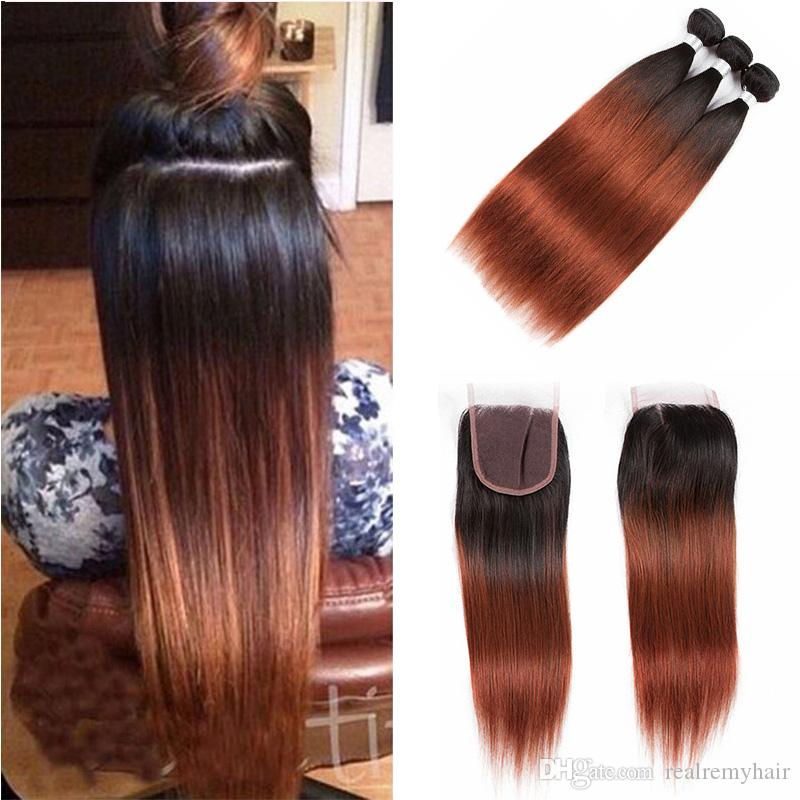 Brazilian Ombre Human Hair Weave 3 Bundles With Closure T1b 33 Dark Auburn Straight Virgin Hair Bundles with Lace Closure Free Middle Part