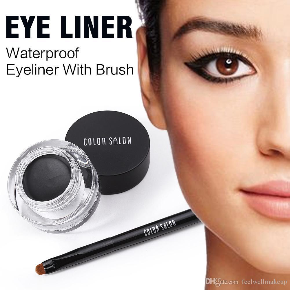 Color Salon Waterproof Eyeliner con pincel Marca de larga duración Eye Liner Pencil Cream Gel natural Maquillaje cosmético 7g