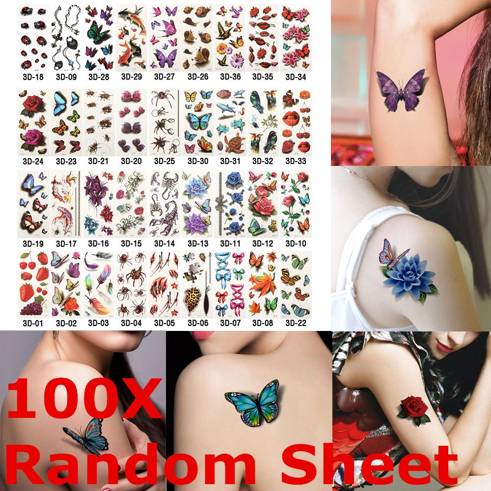 100 Sheet Random Styles 3D Temporary Tattoos Flowers Rose Butterfly Waterproof Body Art DIY Stickers Hot-stamping