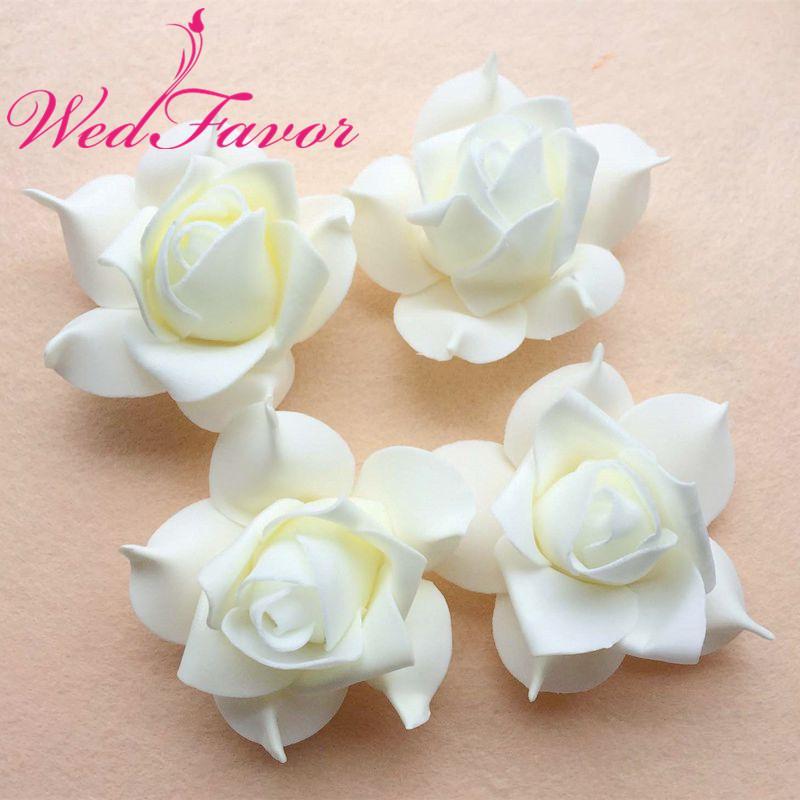 100 pcs 7 cm marfim diy accessries handmade espuma de rosa rose cabeças de flor para o cabelo guirlanda festa de casamento decoração de flores bola fazendo