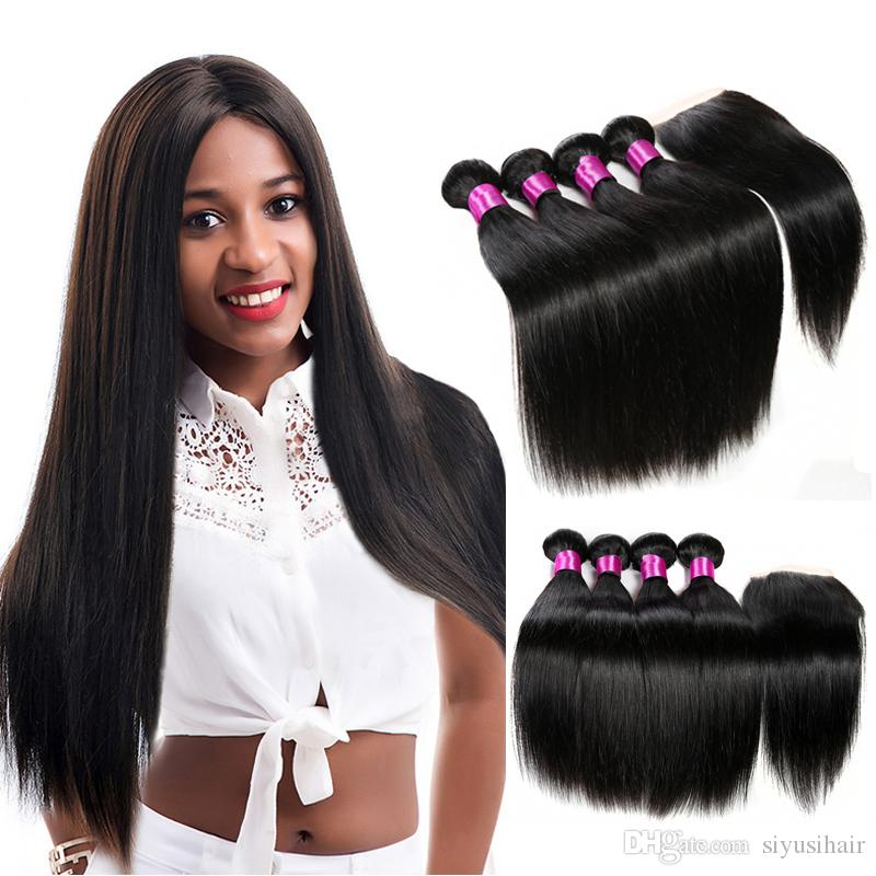 Malaysian Straight Hair Bundles With Closure Unprocessed Malaysian Virgin Hair Straight Human Hair With Lace Closure