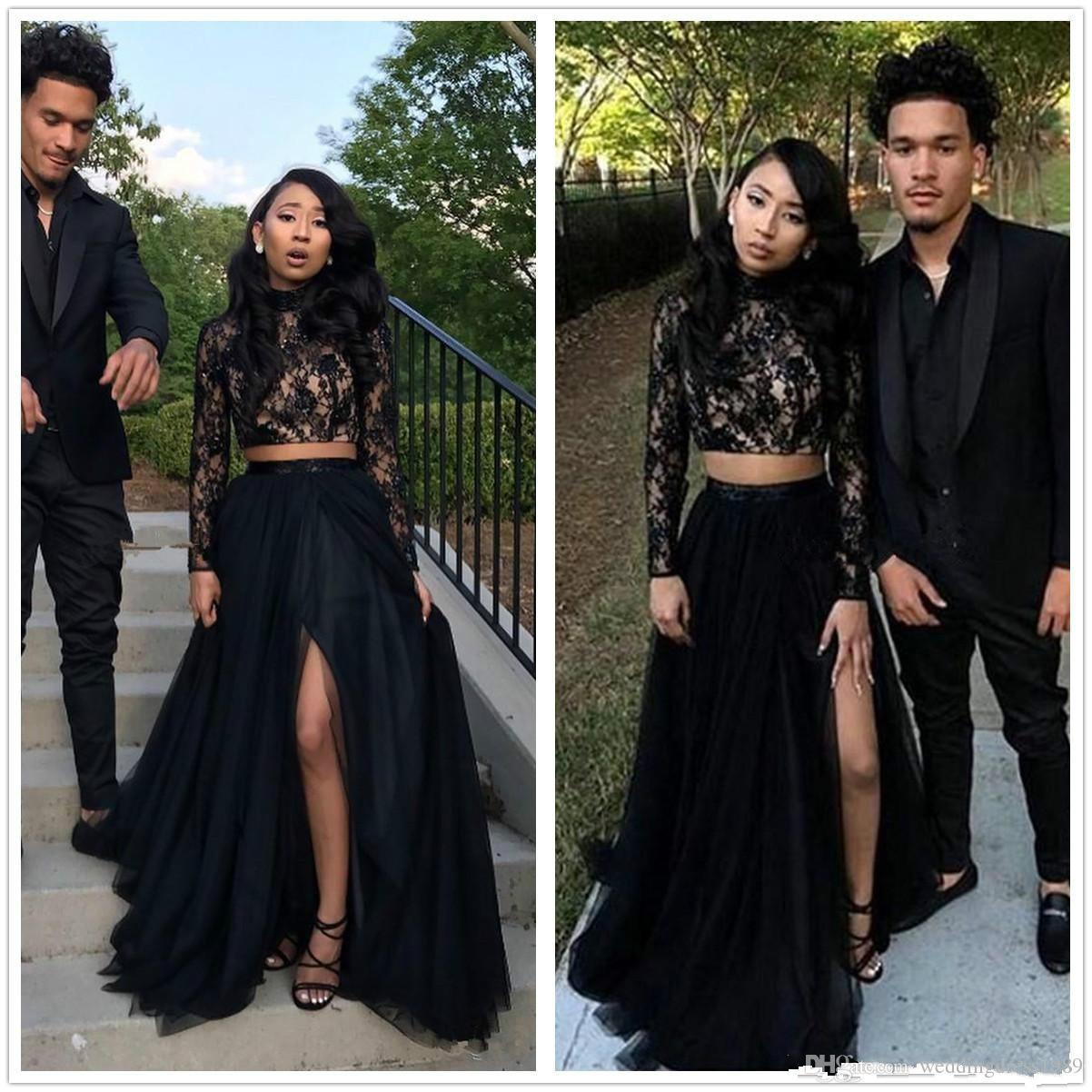 Zwei Stücke Afrikanische Langarm Split Abendkleider Spitze Illusion Ball Vestidos De Festa Party Kleid Prom Formal Pageant Promi Kleider