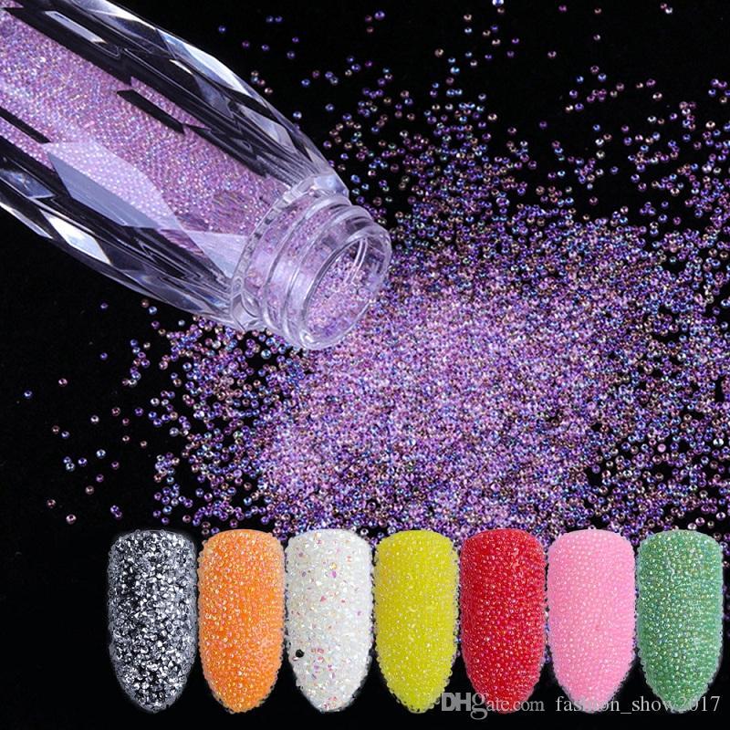 Mini Caviar Perles Cristal Minuscule Strass Verre Micro Perle Pour Les Ongles DIY Coloré 3D Glitter Nail Art Décorations