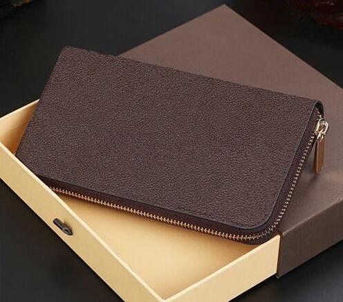 Brand New Men Business negro Carteras de embrague billetera larga Organizador cremallera titular de la tarjeta de moneda 60017 billetera de cuero genuino con caja