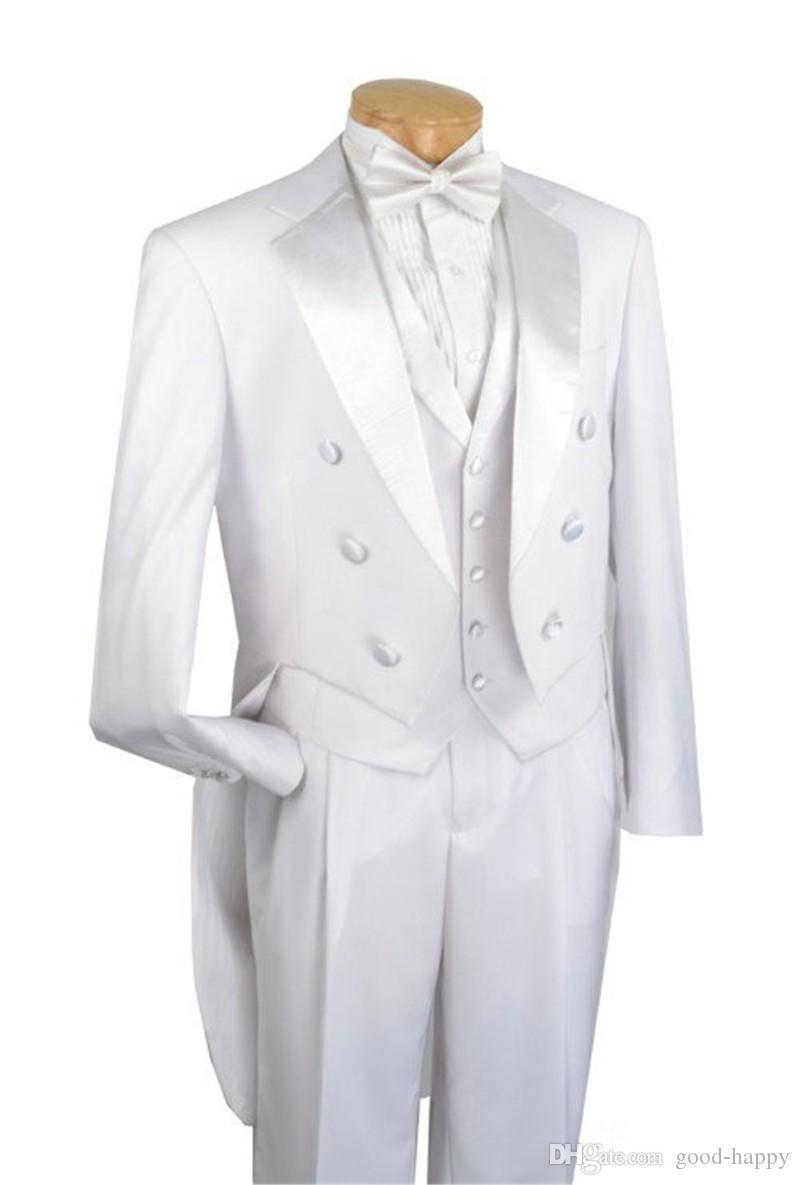White Tailcoat Groom Tuxedos Morning Style Men Wedding Wear Notch Lapel Double-Breasted Men Formal Prom Party Suit(Jacket+Pants+Tie+Vest)101