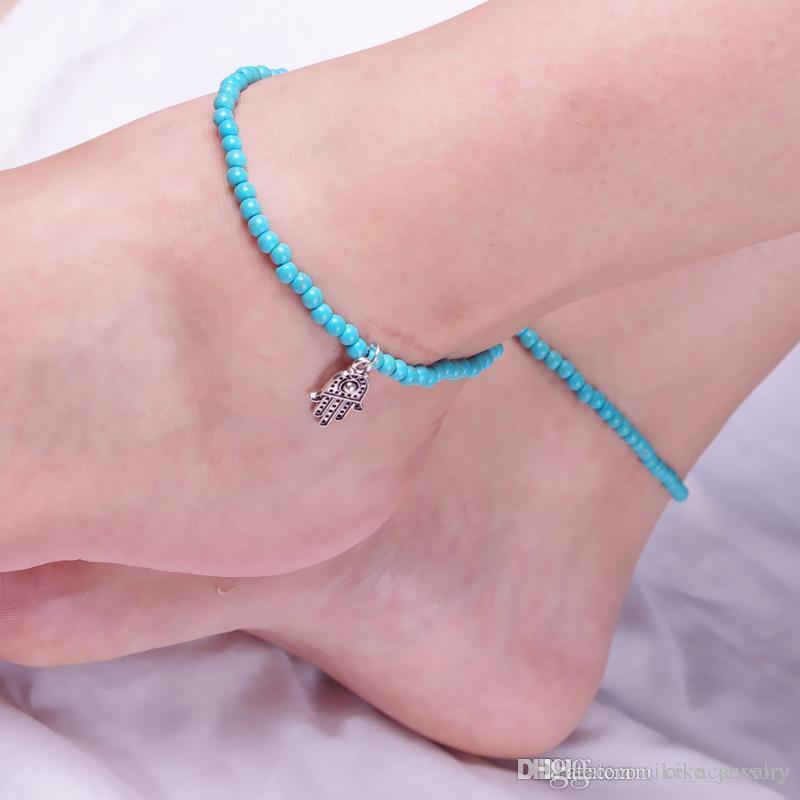 Basit Mavi veya Beyaz Boncuk Bant Kadınlar Ayak Moda Halhal Hediyesi için el Pendant Seç