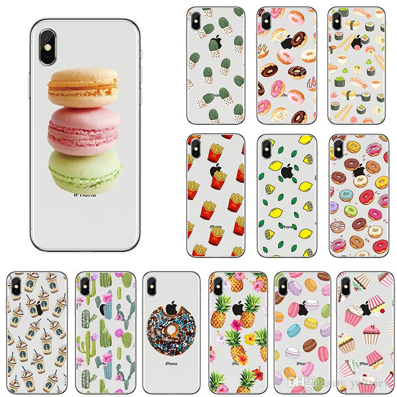 para iphone x 5 6 7 8 más caja del teléfono Fruta de dibujos animados Macaron patrón de cupcake Contraportada de TPU suave para Samsung huawei