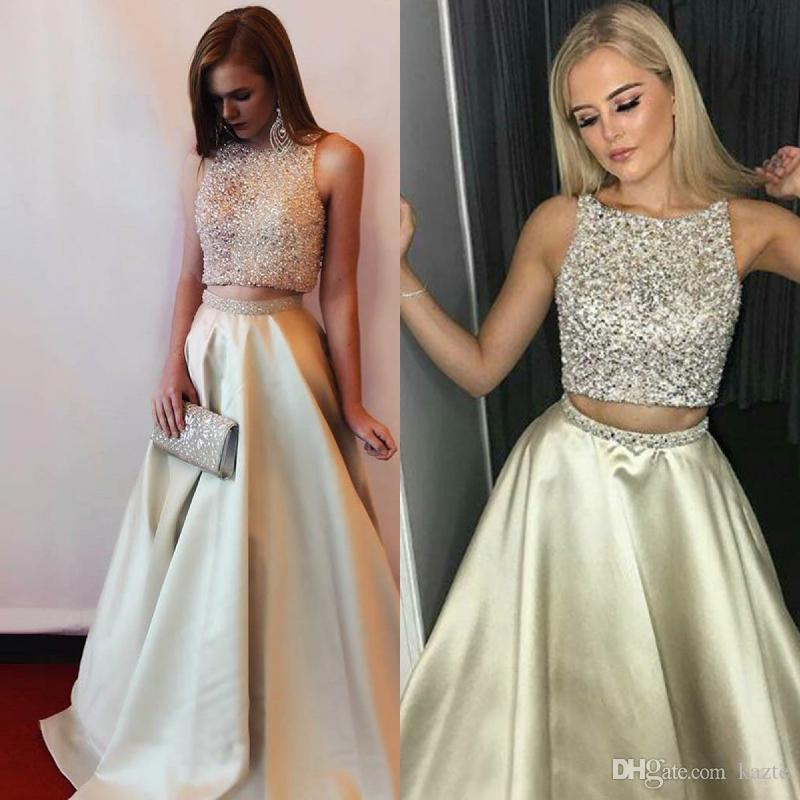 Top Beaded two piece prom dresses Arabic Neckline Silk Satin Full Length Evening Gowns Crystal Open Keyhole back Sexy Holiday Summer garden