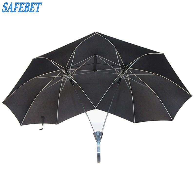 SAFEBET creativas Parejas área grande doble paraguas abierto Organizador doble polo abierto en contra del viento soleado y lluvioso paraguas