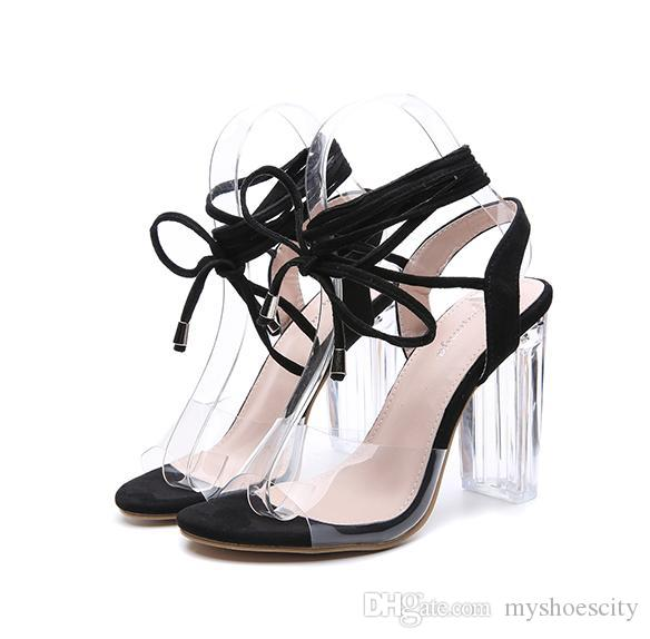 2018 Ankle Wrap Transparent PVC High Heels Women Summer Deigner Shoes Beige Black Size 35 To 40