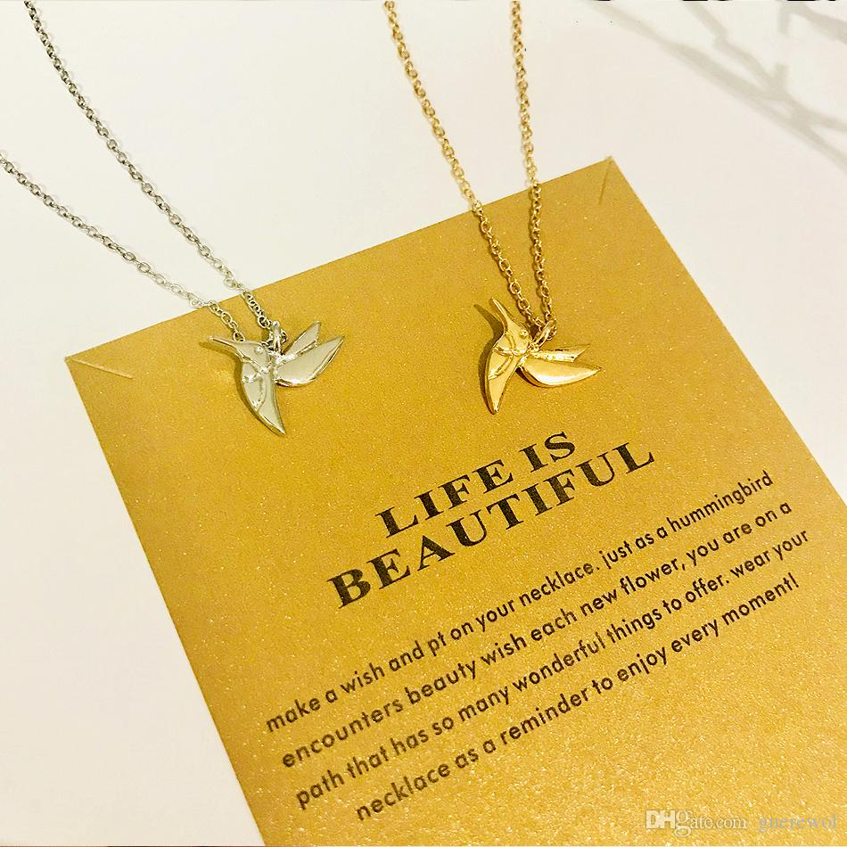 Alloy Hummingbird Bird Choker Gold Statement Necklace Jewelry Chain Colar Women Gift Flying Bird Necklace Pendant