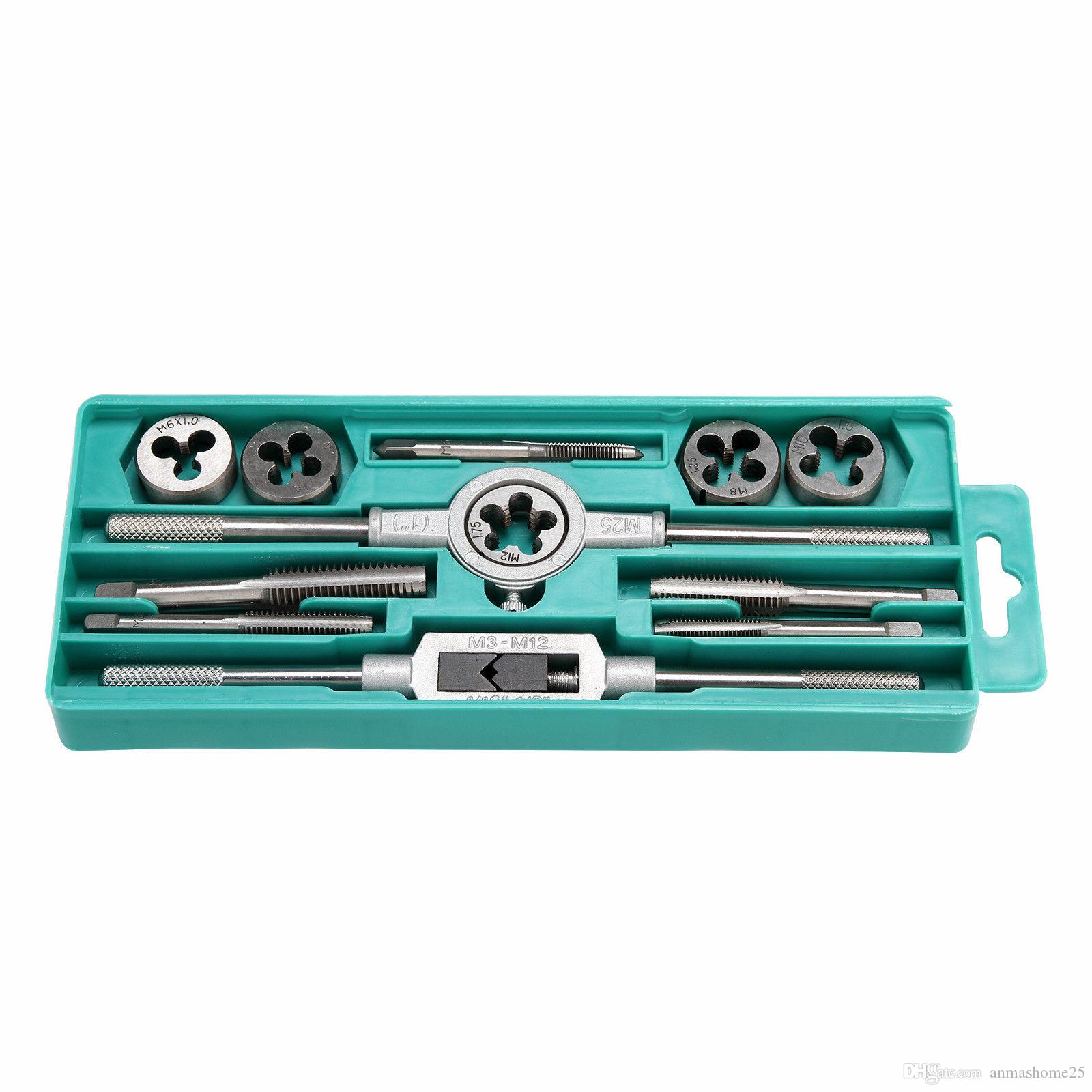 Pro 12 pezzi metrici Tap and Die Set w / Case Screw Extractor Remover Strumenti di inseguimento
