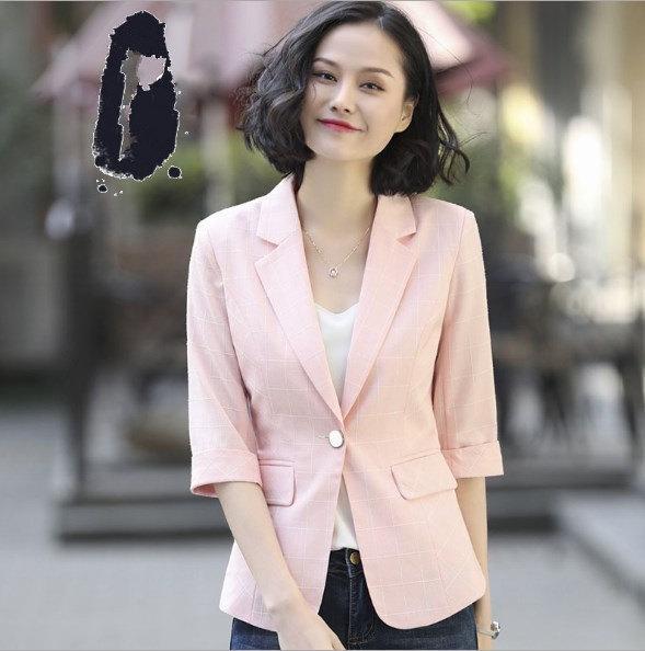 Blue Gray Pink Ladies Short Sleeve Summer Blazer Female Plus Size Slim Short Jacket Blazer For Women Plaid Blazers Mujer