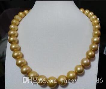 New Fine Genuine gioielli in perle 11-12 mm rotondo south sea golden pearls collana 18 pollici 14K oro solido CHIUSURA