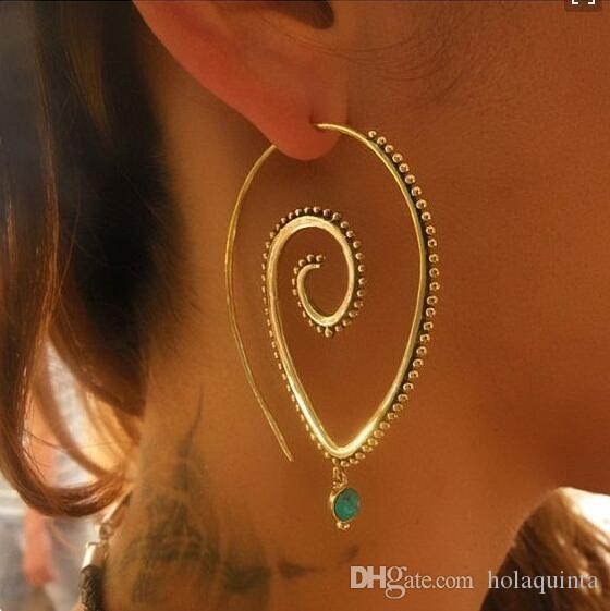 Bohemia Personality Round Spiral Drop Earrings Exaggerated Gold Silver Whirlpool Gear Earrings for Women Jewelry
