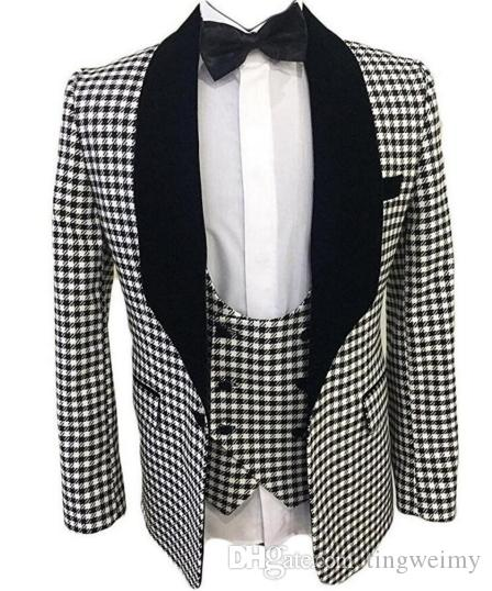 Mens Checkered Suit Custom Made Men Dress Suits,Tailored Casual Men Suits  Hounds Tooth Check,Dogstooth Canada 2019 From Tingweimy, CAD $108.78