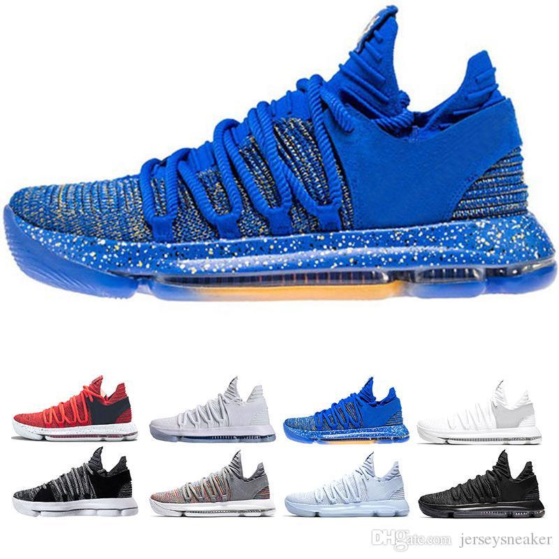 Mens zoom KD Scarpe da pallacanestro 2018 Top quality KD 10 Oreo Be True UniversIty Rosso Bianco Chrome Kevin Durant Sneakers da esterno Scarpe sportive