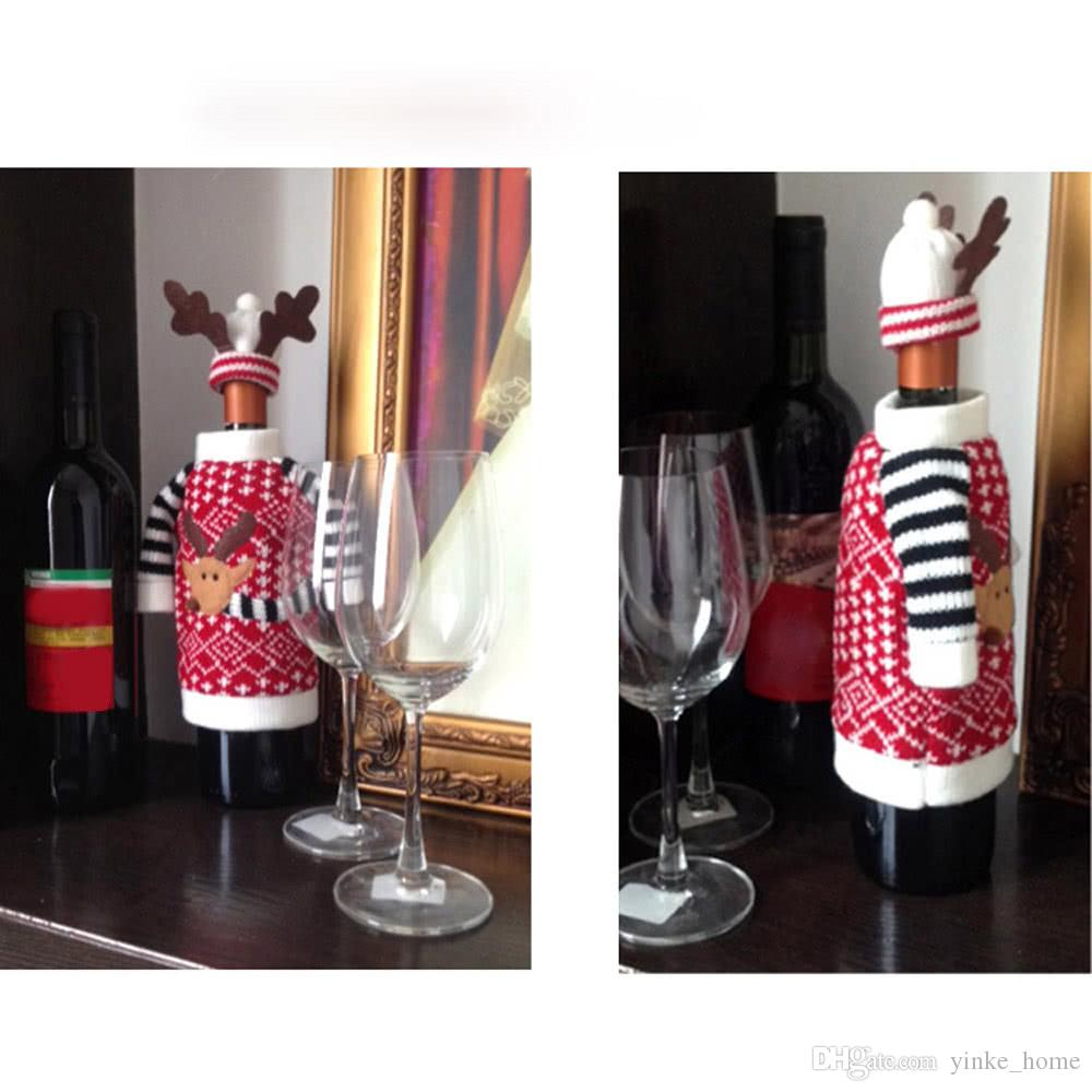 Christmas Red Wine Bottle Cover Elk Ornaments Xmas Champagne Bottle Bags Wrap Clothes for New Year Dinner Table Party Decor
