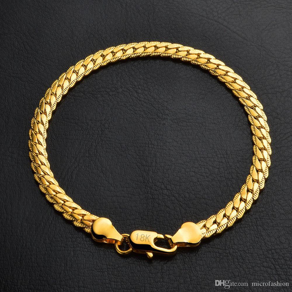 KASANIER Großhandelsmänner Armband-Schmucksachen 5mm Breite Goldfarben-20CM Länge Armband für Männer Kette Kandare Armband New