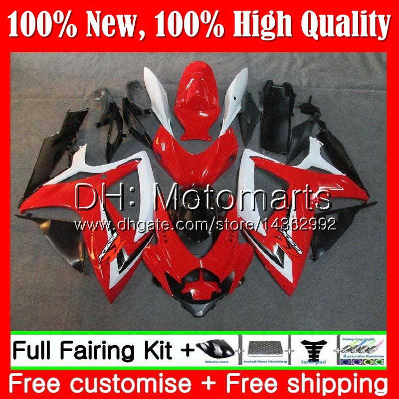 Body For SUZUKI Red white GSX R600 K6 GSX-R750 GSXR 600 06 07 25MT19 GSX-R600 GSXR750 06 07 GSXR 750 GSXR600 2006 2007 Fairing Bodywork