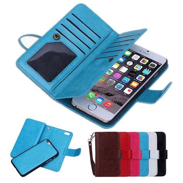아이폰 (11) 프로 맥스 X가 8 7 6S 플러스 삼성 S8 S9 플러스 주 8 9 2 1 자석 분리 지갑 케이스 카드 슬롯 사진 프레임 가죽 커버
