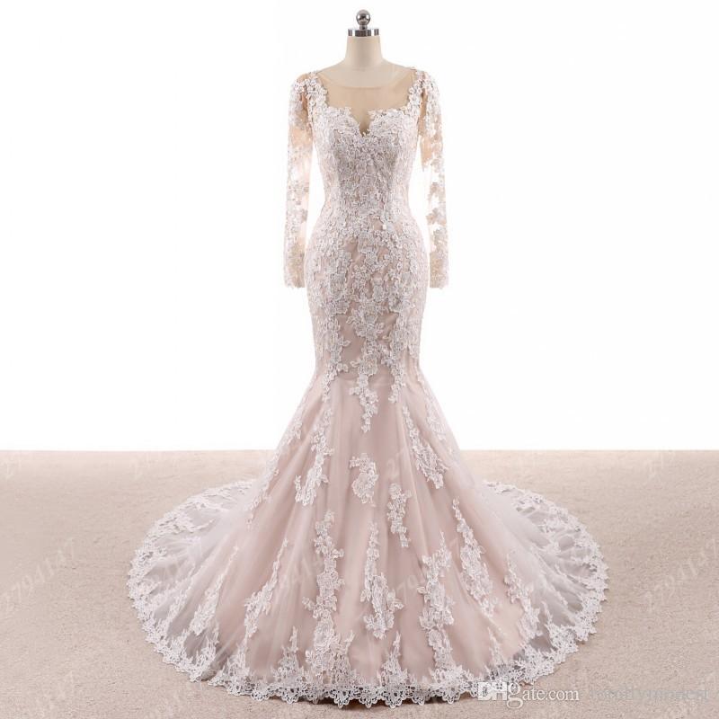 Robe de mariée en dentelle de la terrasse de la terrasse de Champagne avec manches longues Corset dos coloré robe de mariée robe de mariées sur mesure