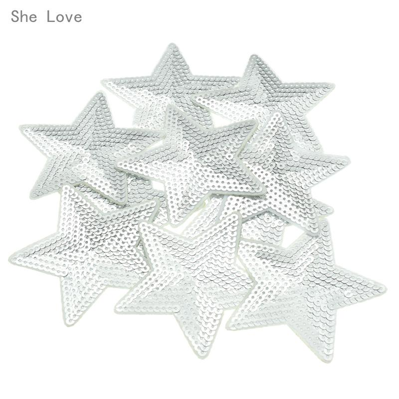 Black Sequin Star Iron On Embroidered Applique Patch