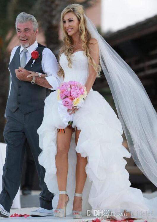 Vestido De Formatura Alta Baixa Praia Vestidos De Noiva 2019 Verão Querida Decote Marfim Ruffled Tulle Curto Frente Longo Voltar Espartilho Vestidos
