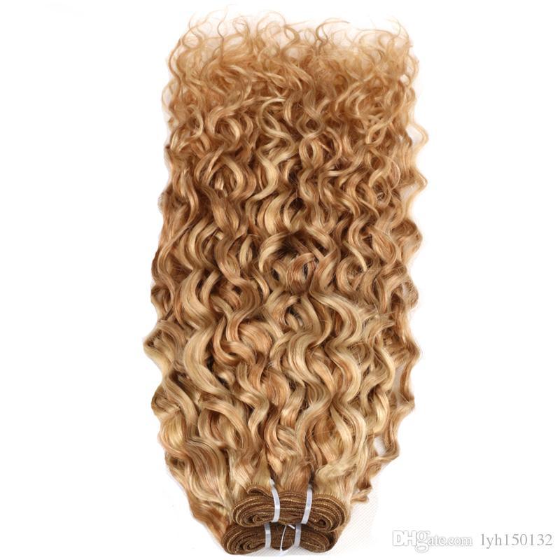 """Feixes de tecer cabelo humano 100g P27 / 613 feixes de tecer cabelo brasileiro cores 10 """"-26 polegadas Kinky Curly 100% Feixes de Tecer Cabelo Humano"""