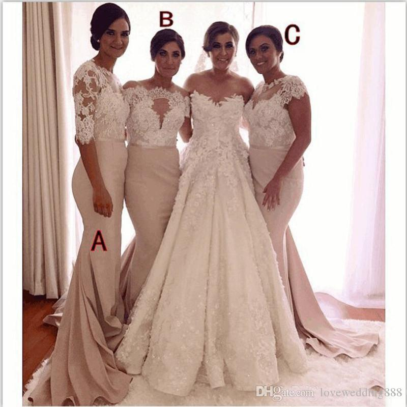 2018 Lace Applique Mermaid Maid Of Honor Gowns Elegant Satin Floor Length Party Long Custom Size Bridesmaid Dress