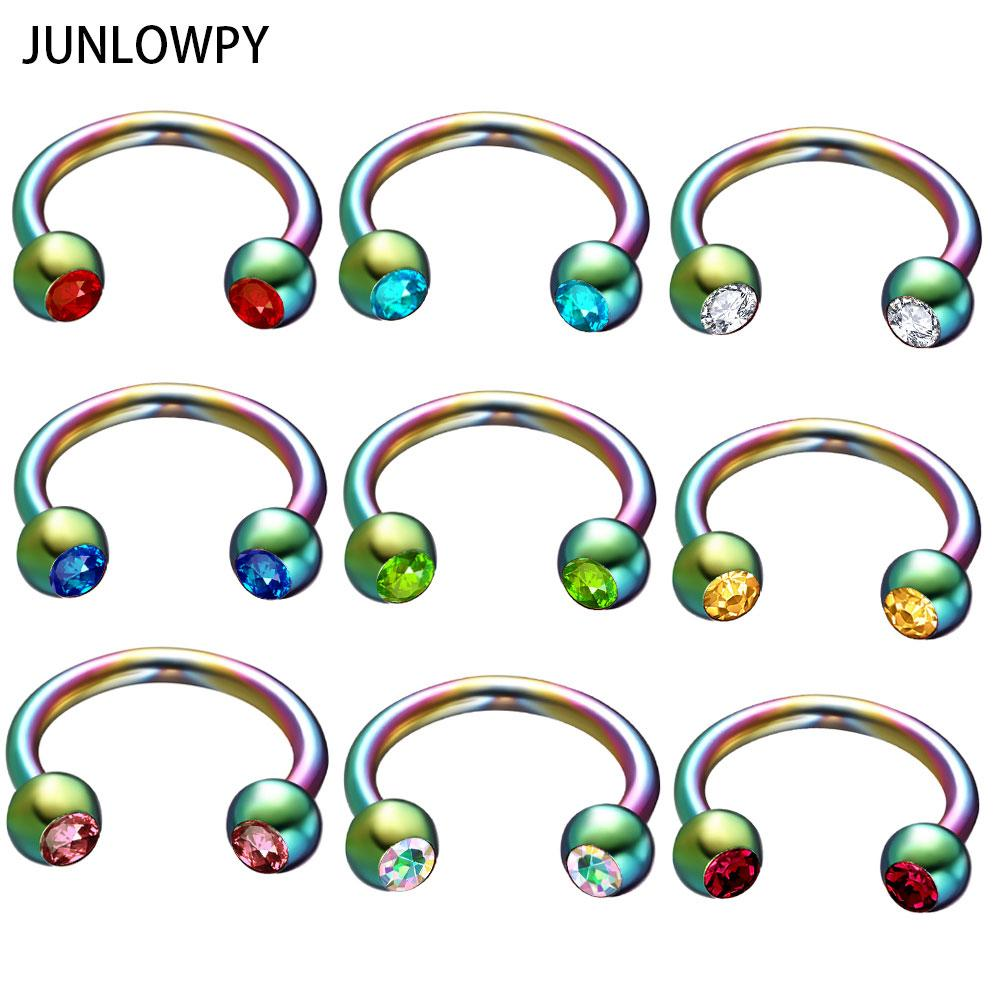 wholesale Rainbow Silver Black Gold Nose Rings Surgical Steel Horseshoe Ring Fashion Body Jewelry Ear Bar Piercing Earring 50pcs