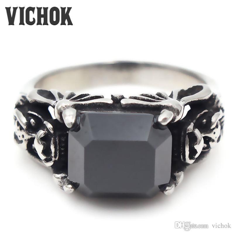316L Edelstahl-Ring Blackstone Cutting neue Art und Weise der Qualitäts-Retro- Art-Muffel für Männer Mode Ringe VICHOK