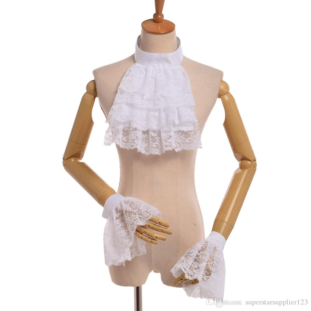 Vintage Noble Princess Cosplay Lace Blanco Jabot Muñeciones Muñecas Victorian Detachable Ruffle Cuello Puños de pulsera de alta calidad Envío rápido