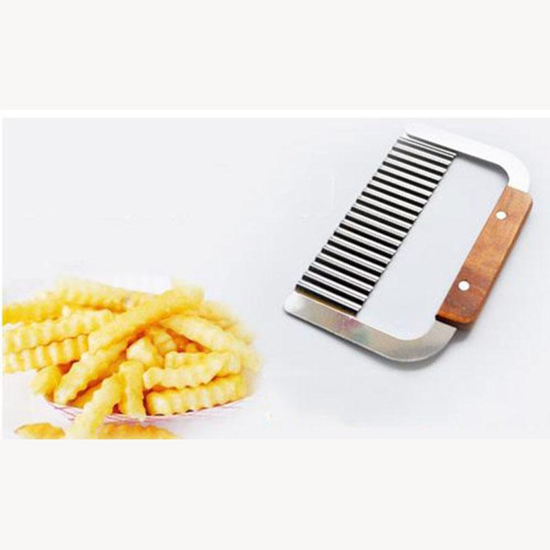 Curly Spiral French Fry Potato Cutter Crinkle Knife stainless steel Fruit Vegetable Cutting Tool wood handle potato chips gadget free shippi