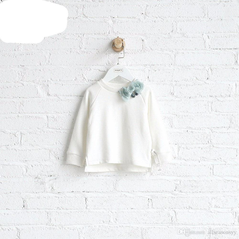 White Full Cotton Applique Autumn Girls Sweatshirts Children Spring Solid O Neck Elegant Shirts Toddler Sweet Tops