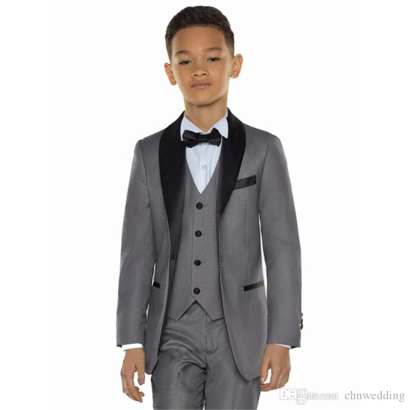 Black Shawl Tailored Made Gray Boys Suits Kids Suits for Wedding Child Suits Prom Set 3 Pieces (Jacket+Pants+Vest) Formal Wear for Children