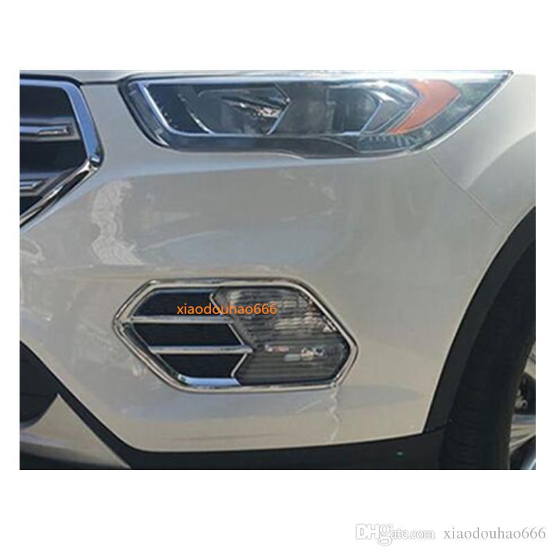 2pcs Car Chrome Front Fog Light Lamp Frame Cover Trim Emblems For VW Tiguan 2017-2018-2019