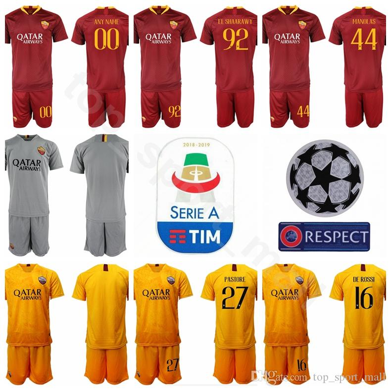 wholesale dealer d1526 1dfde 2019 2018 2019 FC AS Roma Soccer Jersey Men Serie A 44 Kostas Manolas 92  Stephan El Shaarawy 27 Javier Pastore Football Shirt Kits From ...